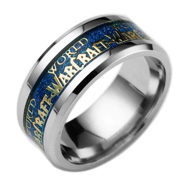 taille 40 d4607 1ce3b Bague tendance World of Warcraft combat pour la Horde anneaux jeu bijoux  pour Fans WOW bague Midi Slliance bague acier inoxydable
