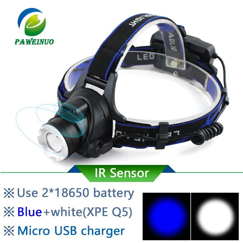 IR Sensor Led Headlamp XM-L2 Headlight Micro USB Rechargeable Head Lamp Waterproof Head Torch Flashlight 18650 Fishing Light Led