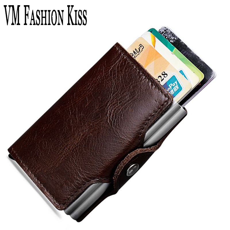 VM FASHION KISS Genuine Leather RFID Card Pack Women Men Credit Holder Automatic Type Package Double Aluminum Box ID Card Holder non woven fabrics hanging type 18 cd dvd card holder beige