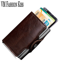 VM FASHION KISS Genuine Leather RFID Card Pack Women Men Credit Holder Automatic Type Package Double Aluminum Box ID Card Holder