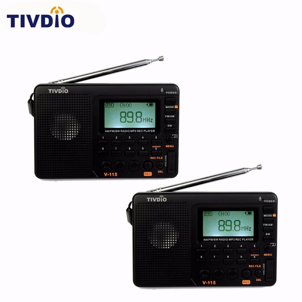 2 unids tivdio v-115 Radios FM/AM/SW receptor de banda Reproductores MP3 REC grabadora con temporizador negro FM Radios grabadora f9205a