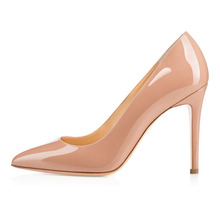 Amourplato Women's 100mm Pointed Toe Stiletto Heel Classic Simple Pumps Party Office Dress Solid Shoes Slip On Style