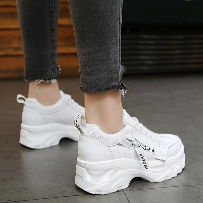 Women Casual Shoes 2019 New Spring Fashion White Sneakers Shoes Women Flats Platform Lace-Up Breathable Women Sneakers