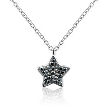 Dormith real 925 Sterling Silver necklace Grey Rhinestone Choker Necklace Star Pendant necklace for women jewelry цена