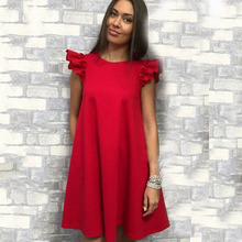 572b65af5f02 Flutter Sleeve Solid Loose Dress 2018 Summer Butterfly Sleeve Vacation  Clothing Women Beach Ruffle Dress(