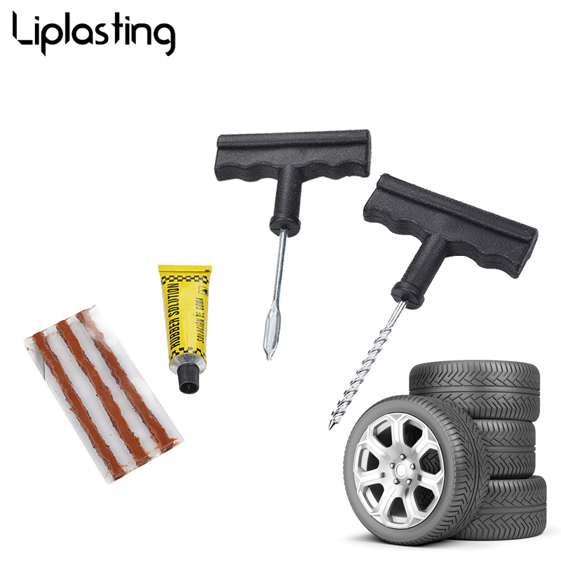 Liplasting Car Motorcycle Auto Quick Tire Repair Tool Kit Rubber Strips Tyre Puncture Plug For SUV MPV RV Block Air Leaking tool