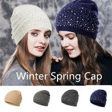 De Punto diamante Beanie de las mujeres gorros 2019 nuevo invierno  primavera las mujeres las sombrero blanco nieve sombreros de . 74fe2ab69af