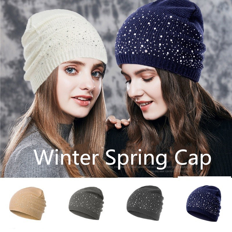 Diamond Dot   Beanie   Women's   Beanies   2019 New Winter Spring Women Hat Snow White Hats Fashion Ladies Cap Elastic Girls   Beanie