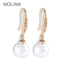 2014 New Womens Girls 18k Gold Plated Round Dangle Earrings Fashion Pearl Earings Jewelry Festival Gift for Lady E136b