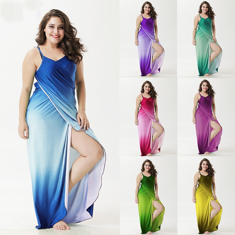 Plus size Cover Up Robe Plage Gradient color Beach Long Dress Pareos Women Tunic Sarong Bathing Suit Bikini Cover Up