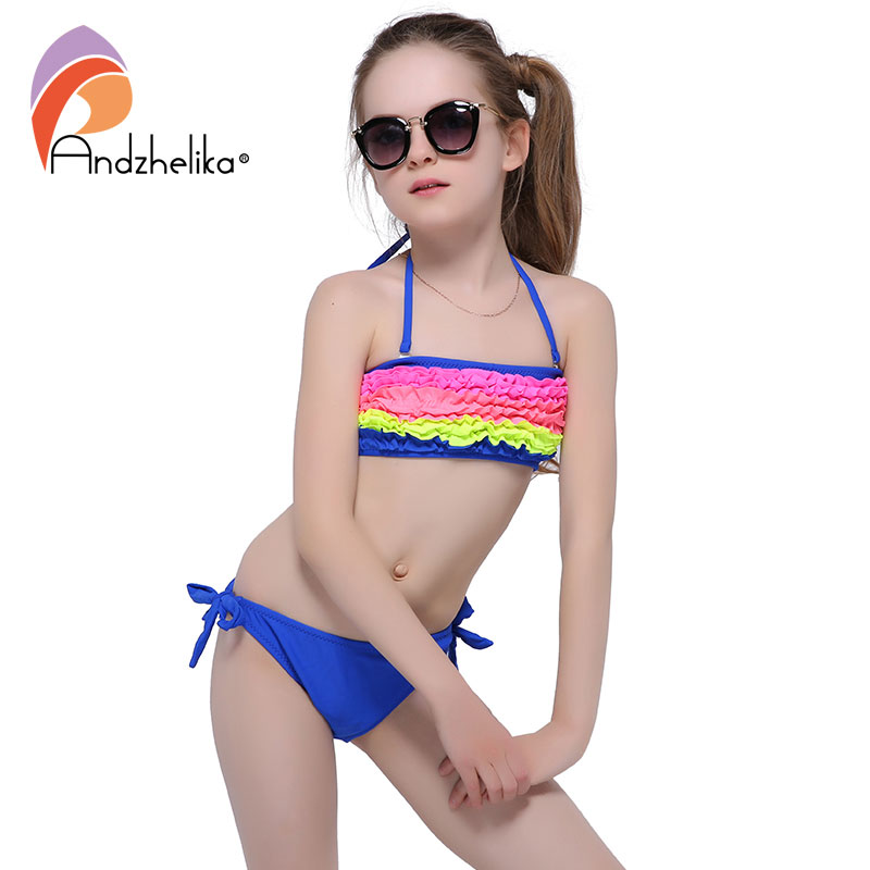 Andzhelika Children's Swimsuit 2018 New Summer Girls Bikini Cute Swimsuits Kids Beach Swimwear Child Patchwork Swim Suits AK6829
