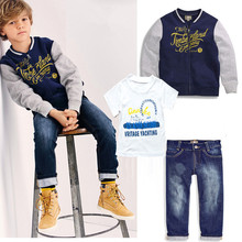 Summer style boys clothing fashion leisure clothing boy children three-piece suit coat + T-shirt + trousers F06 suit
