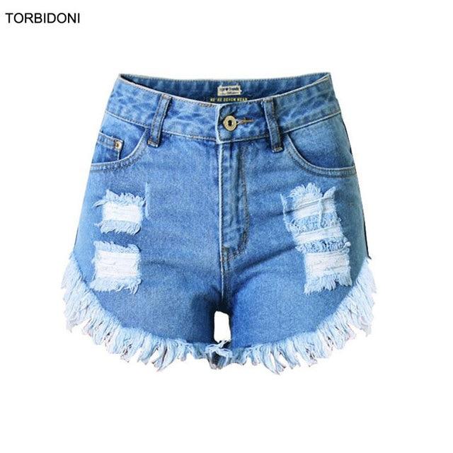 e98fe85b1291 Spodenki Jeansowe wysokiej Talii Kobiet 2017 Moda Retro Top Letnie Szorty Spodenki  jeansowe dla Kobiet Slim