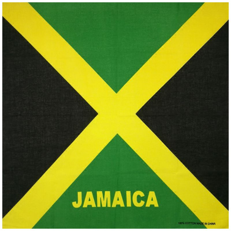 Flag Of Jamaica Print Unisex Square Bandanas Cotton Hair Scarf Biker Motorcycle Neckerchief Hip-Hop Headwrap Patriotic Accessory