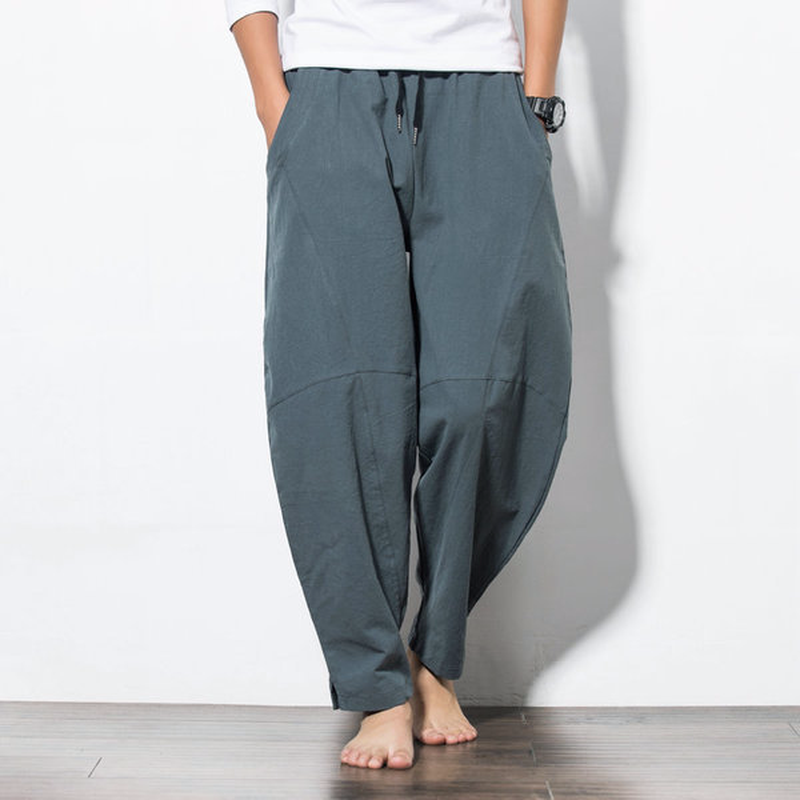 men pants Chinese wind men's casual pants harem pants loose big yards Four Seasons wide leg pants tide beach