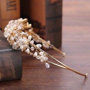Image 3 - Getnoivas pérola de ouro do vintage strass folha tiaras bandana hairband nupcial cabelo jóias cabeça pedaço casamento coroa acessório sl