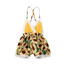 0-24M Toddler Baby Girls Summer Lace Floral Backless Romper Jumpsuit Clothes