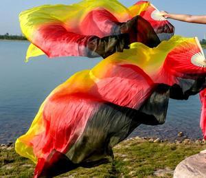 Image 5 - Yeni varış sıcak satış gökkuşağı oryantal dans ipek yelpaze Veils el boyası canlı işık Fan peçe çift degrade 120cm 180cm profesyonel