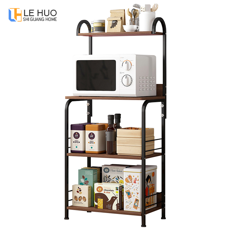 4-Tier Wood Kitchen Shelf Iron Art Kitchenware Storage Organizer Shelf Stand Microwave Oven Rack Spice Rack Cupboard Furniture