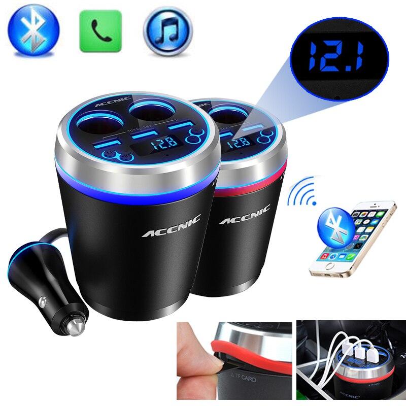 imágenes para TF/Micro SD Reproductor de Música MP3 Transmisor FM Bluetooth Car Kit Manos Libres Adaptador para Encendedor de Cigarrillos Divisor de 3 Puertos USB cargador