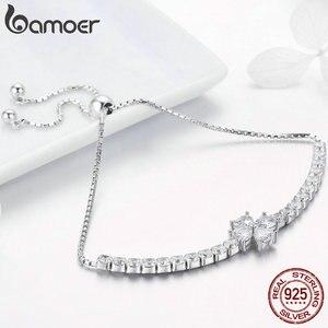 Image 3 - Bamoer Echt 925 Sterling Zilveren Shining Clover Flower Chain Armbanden Voor Vrouwen Clear Cz Mode Zilveren Sieraden BSB007