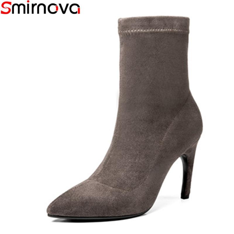 Donne On Stivali Nuovo A 2018 Spillo Il Stretch Arrivo Stivaletti Punta  Donna Gregge Smirnova Da Tacchi Nero Scarpe ... c369394566d