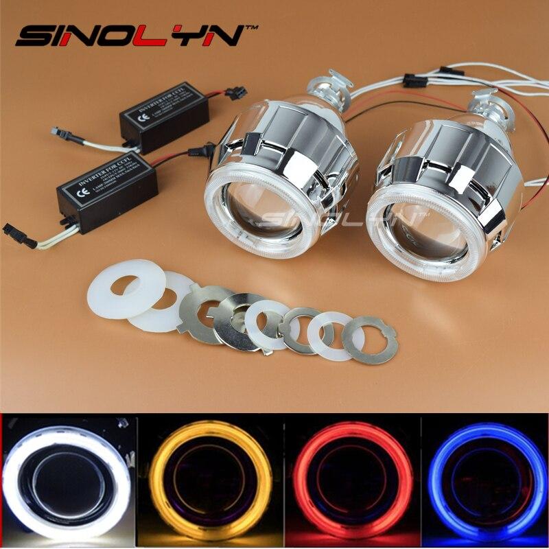 ФОТО SINOLYN Car Motorcycle Styling CCFL Angel Eyes Halo 2.5'' HID Bi-xenon Lens Projector Headlights Xenon Headlamps Lenses H1 H4 H7