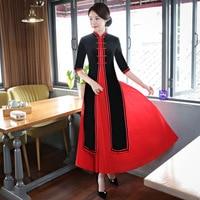 Autumn NEW Velvet Oversize Aodai Dress 3XL 4XL Chinese Women Mandarin Collar Cheongsam Elegant Improved Performance Qipao