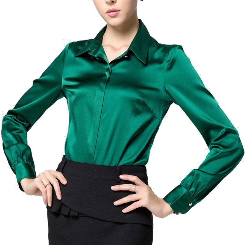 369c6973027b2e S-XXXL women Fashion silk satin blouse button ladies silk blouses shirt  casual office Green White Black long sleeve satin top