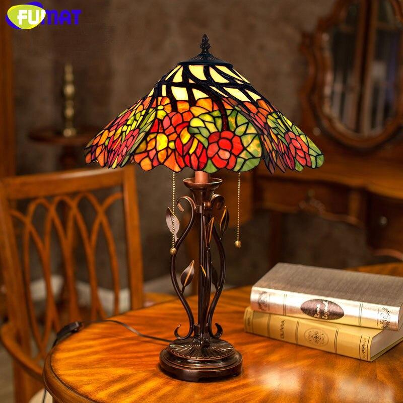 FUMAT Manchado Lâmpada De Vidro 16 inch Clássica Lâmpada De Mesa Quente Romântico Whirly Flor Sala Luzes de Cabeceira Candeeiro de Mesa