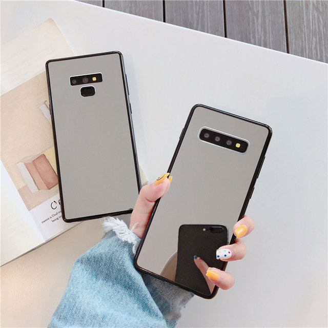 Sang Trọng Bling Gương Trang Điểm Ốp Lưng Điện Thoại Samsung S8 S9 S10 Plus S7 Edge A5 2017 J6 Plus A50 A70 NOTE 9 Chống Sốc TPU Cover