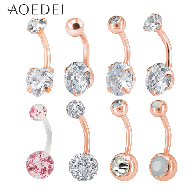 Us 3 49 30 Off Aoedej 8pcs Lot Round Crystal Belly Button Piercings Stainless Steel Navel Piercing Rose Gold Real Navel Belly Piercing Ombligo In