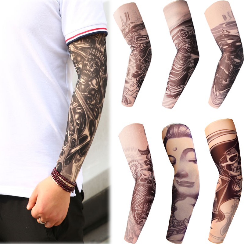 1PC Cycling Sleeves Tattoo Printed Armwarmer Bike Bicycle Sleeves Arm Protection