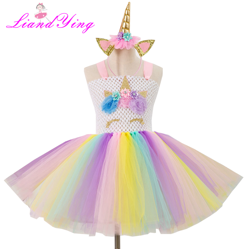 Fancy Kids Unicornio Tulle Dress Girls Halloween Ball Gown Dress Baby Flower Girl Princess Dresses Wedding Party Costumes fancy kids unicornio tulle dress girls halloween ball gown dress baby flower girl princess dresses wedding party costumes