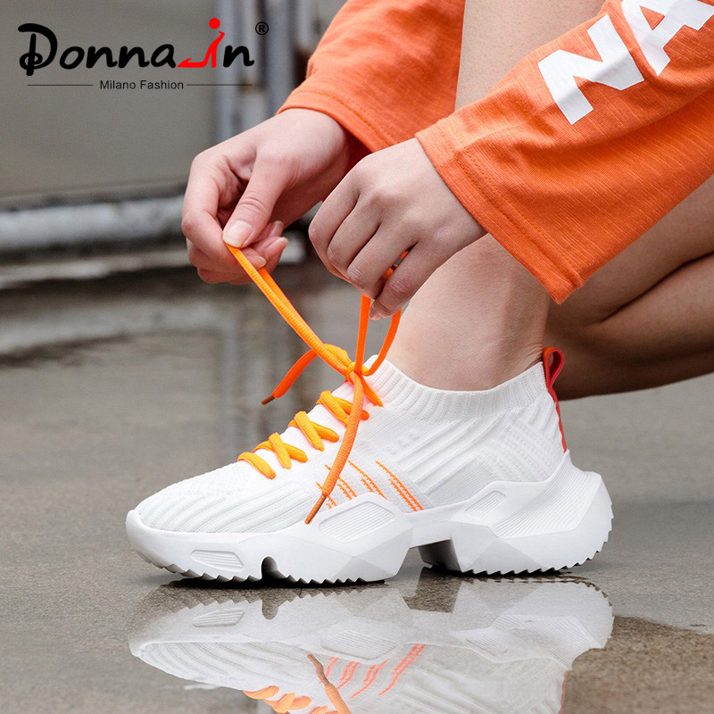 Donna in Black White Sneakers Platform Women Chunky Sneakers 2019 Vulcanize Shoes Fashion Comfortable Casual Lace