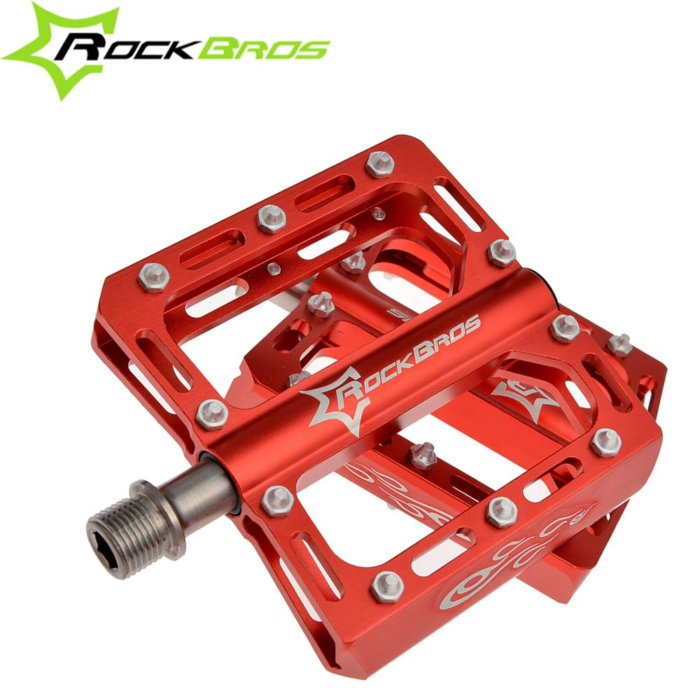 ROCKBROS 9/16 Magnesium Alloy Bicycle Pedal Titanium Spindle Ultralight Mountain Bike Pedal, 5 Colors