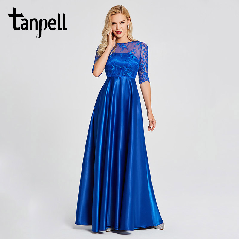 Tanpell lace evening dresses royal blue scoop neck half sleeves floor length a line gown women