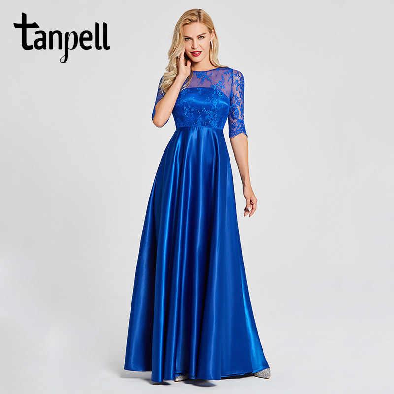 a5614f0d029 Tanpell кружевные вечерние платья королевский синий совок шеи Половина  рукава Пол Длина линия платье Женщины спинки