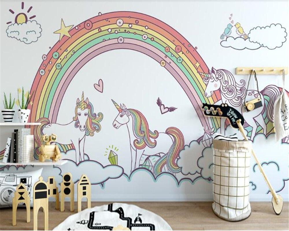 minimalist wallpapers cartoon living animal unicorn beibehang nordic mural children