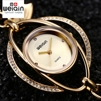 WEIQIN Heart Pendant Bangle Bracelet Watches Women Gold Silver Crystal Rhinestone Fashion Watch Ladies Casual Dress