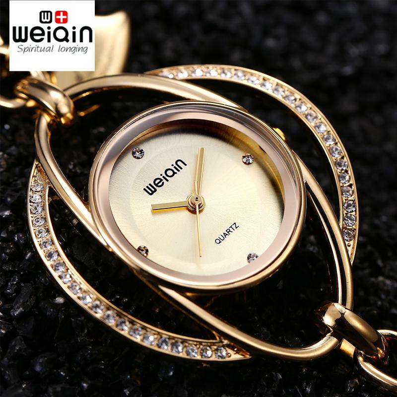 Prix pour Weiqin pétales chanceux Bracelet montres femmes or cristal strass mode montre mesdames Casual Relogio Feminino orologio donna