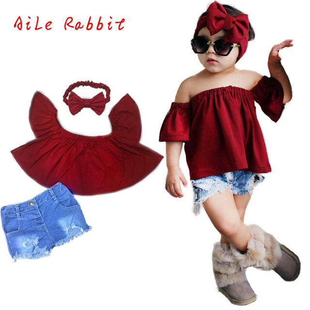 38b736fde82f European American Trendy Children s Clothing Ins Fashion Girls Wine Red Top  +holes Jeans + Headband Children s Three-piece Sets