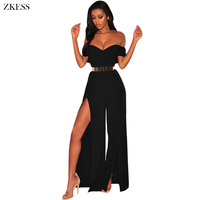 ZKESS Women Faux Wrap Off Shoulder Slit Jumpsuits Boot Cut Loose Rompers Sexy Nigh Club Party