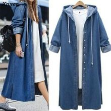 New Fashion Plus Size Coats L-4XL Hooded Denim Jackets Casual Loose Coats Long Sleeve Spring Autumn Demine Outwears Femmes Tops цена и фото