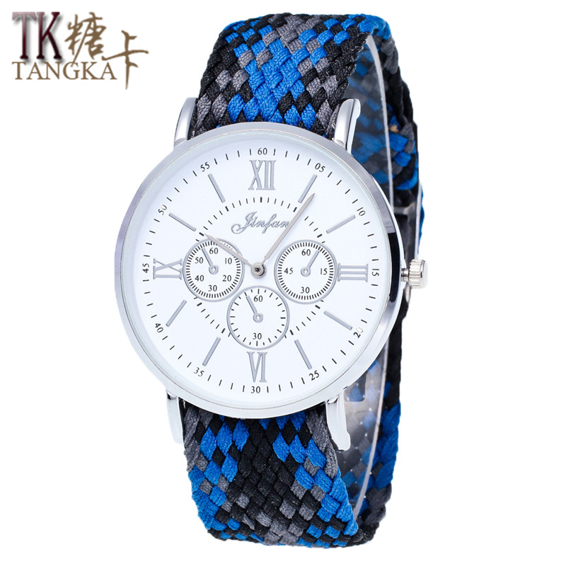 Classic Roman Numerals Retro Ladies Watches Lovers Watches Unique Design Of Nylon Braided Casual Fashion Quartz Watches Bracelet