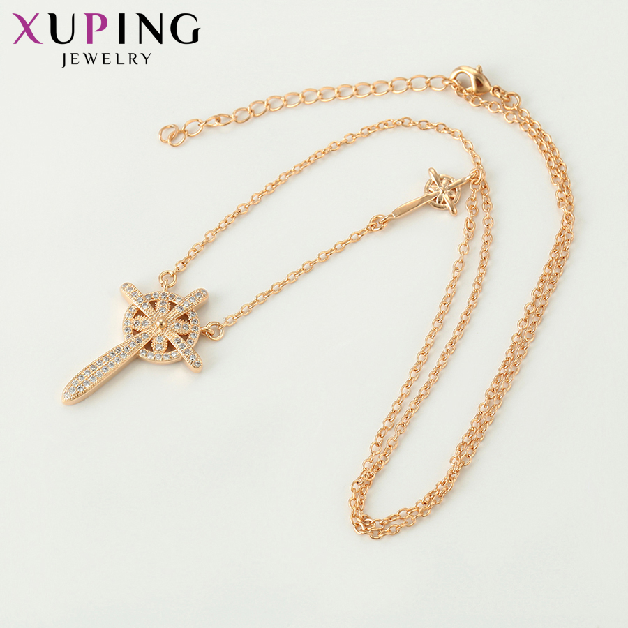 11.11 Deals Xuping Jewelry Trendy Cross Pendant Necklace Retro for Women Party Bridal New Years Day Gifts S116-44522
