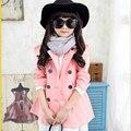 2016 Muchachas de la Marca de Otoño Invierno Ropa de Abrigo Ropa Niños Princesa Trench Preciosas Niñas de La Escuela de Moda de Doble Botonadura Abrigo