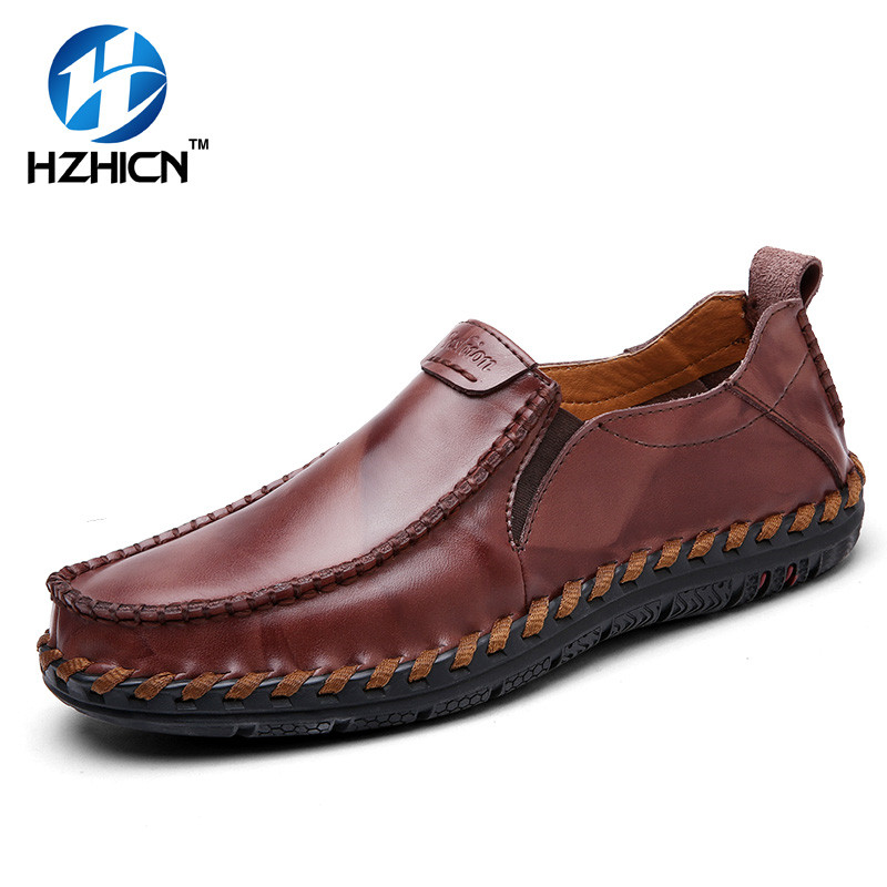 HZHICN Brand Fashion Summer Style Soft Moccasins Men Loafers High Quality Leather Shoes Men Flats Gommino Driving Shoes