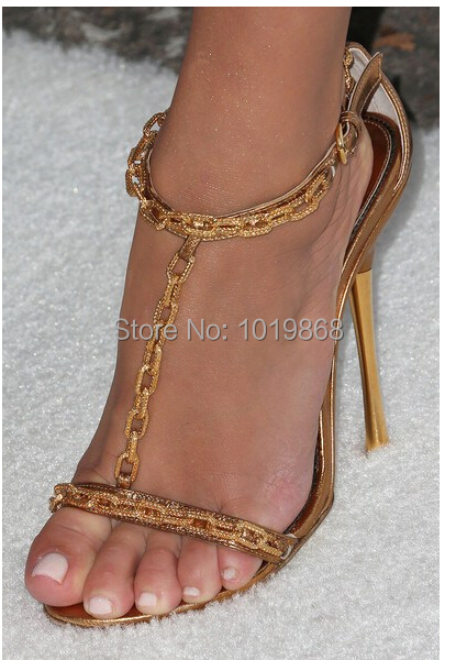 Leather Gold Chain T Strap Sandals 100 MM Sexy High Heel Celebrity ...
