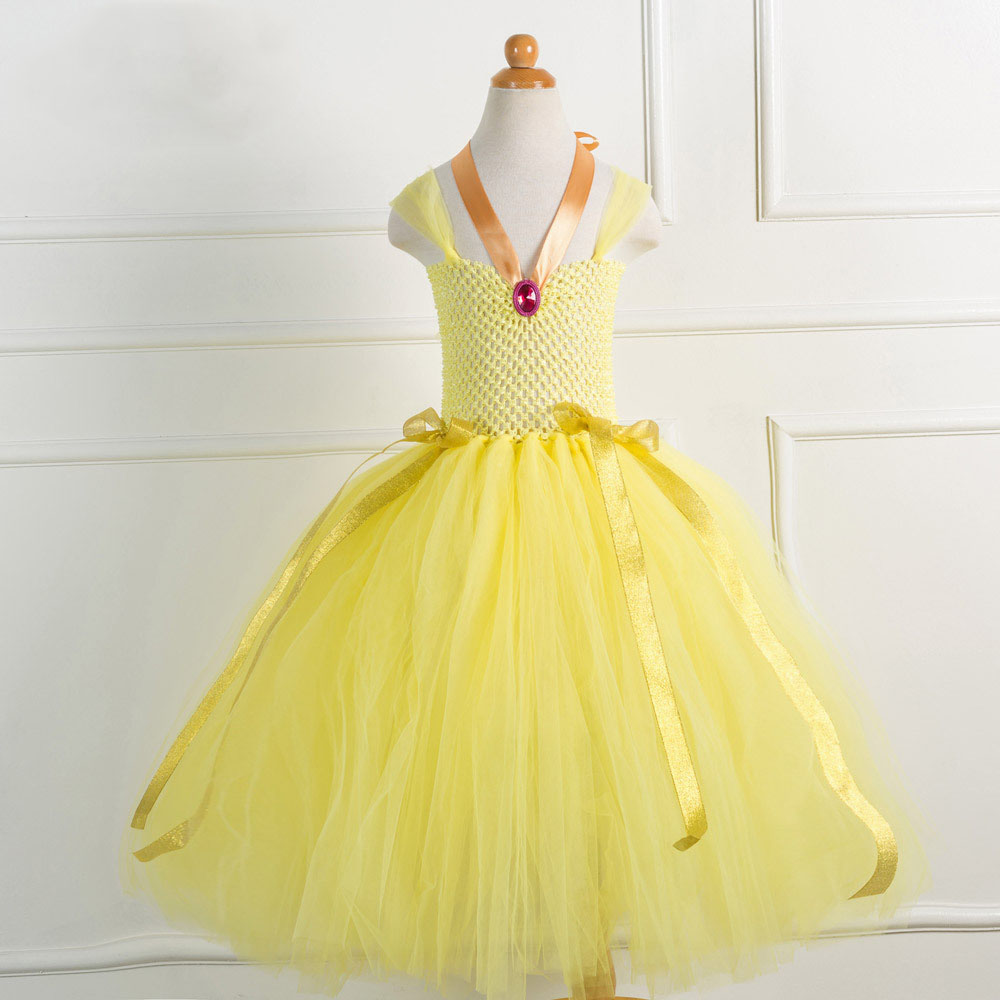 New Belle Girls Dress Yellow Princess Cosplay Costume Birthday Party 2018 Summer Wedding Dresses Children Gown Clothes vestido new summer dress sequined flowers bow kids dresses for girls clothes solid birthday party robe princess dress wedding vestido